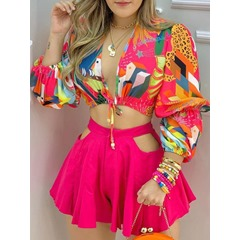 Floral Print Shirt Women's Two Piece Sets
