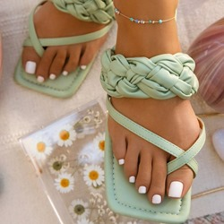 Shoespie Trendy Toe Ring Thread Flat With Casual Slippers