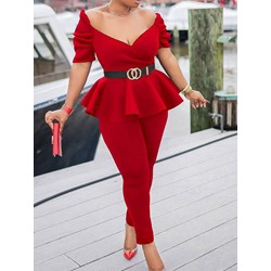 Fashion Sweater Plain Pullover Women's Two Piece Sets