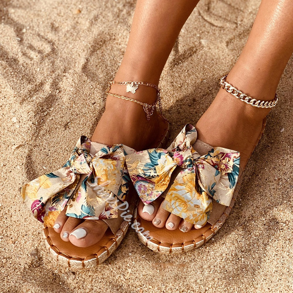 Shoespie Trendy Flip Flop Flat With Bow Summer Slippers