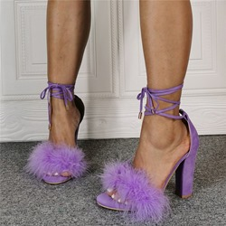 Shoespie Stylish Chunky Heel Lace-Up Round Toe Feather Sandals