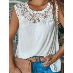 Lace Polyester Summer Mid-Length Women's Tank Top