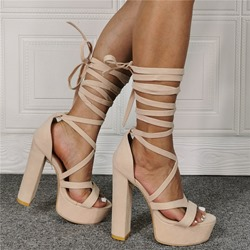 Shoespie Stylish Round Toe Chunky Heel Lace-Up Cross Strap Sandals