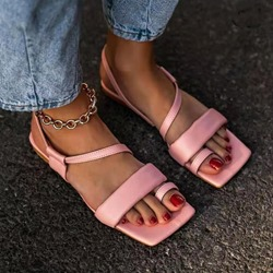 Shoespie Trendy Square Toe Flat With Slip-On Candy Color Sandals
