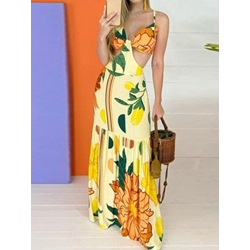 Floor-Length V-Neck Sleeveless Floral Women's Dress