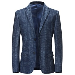 Single-Breasted Notched Lapel Color Block Blazer