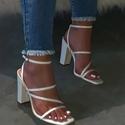 Shoespie Trendy Square Toe Buckle Chunky Heel Thread Sandals