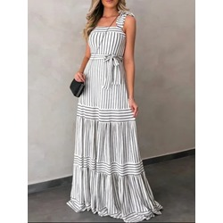 Square Neck Lace-Up Sleeveless Stripe Women's Dress