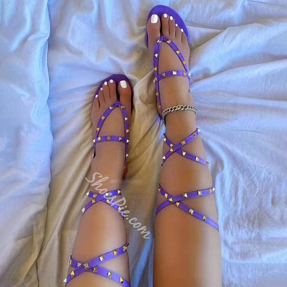 Shoespie Sexy Ankle Strap Lace-Up Flat With Cross Strap Sandals