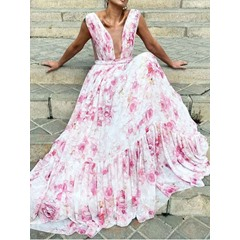 Sleeveless Print Floor-Length A-Line Floral Women's Dress