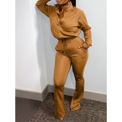 Casual Zipper Plain Straight Women's Two Piece Sets