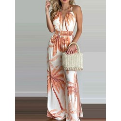 Full Length Plant Fashion Wide Legs Women's Jumpsuit
