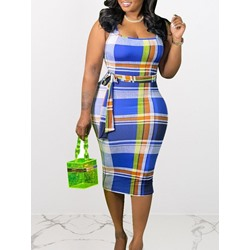 Mid-Calf Sleeveless Print Bodycon Women's Dress