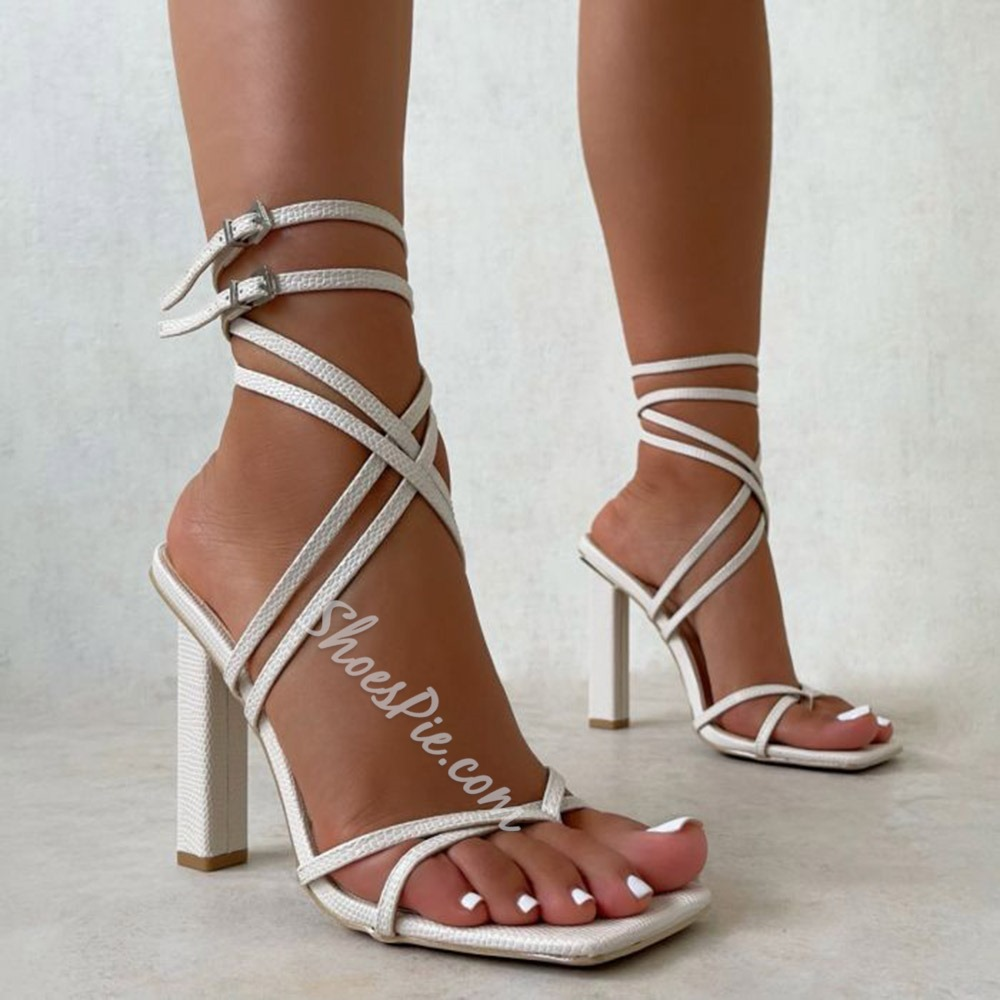 Shoespie Trendy Chunky Heel Buckle Square Toe Plain Sandals