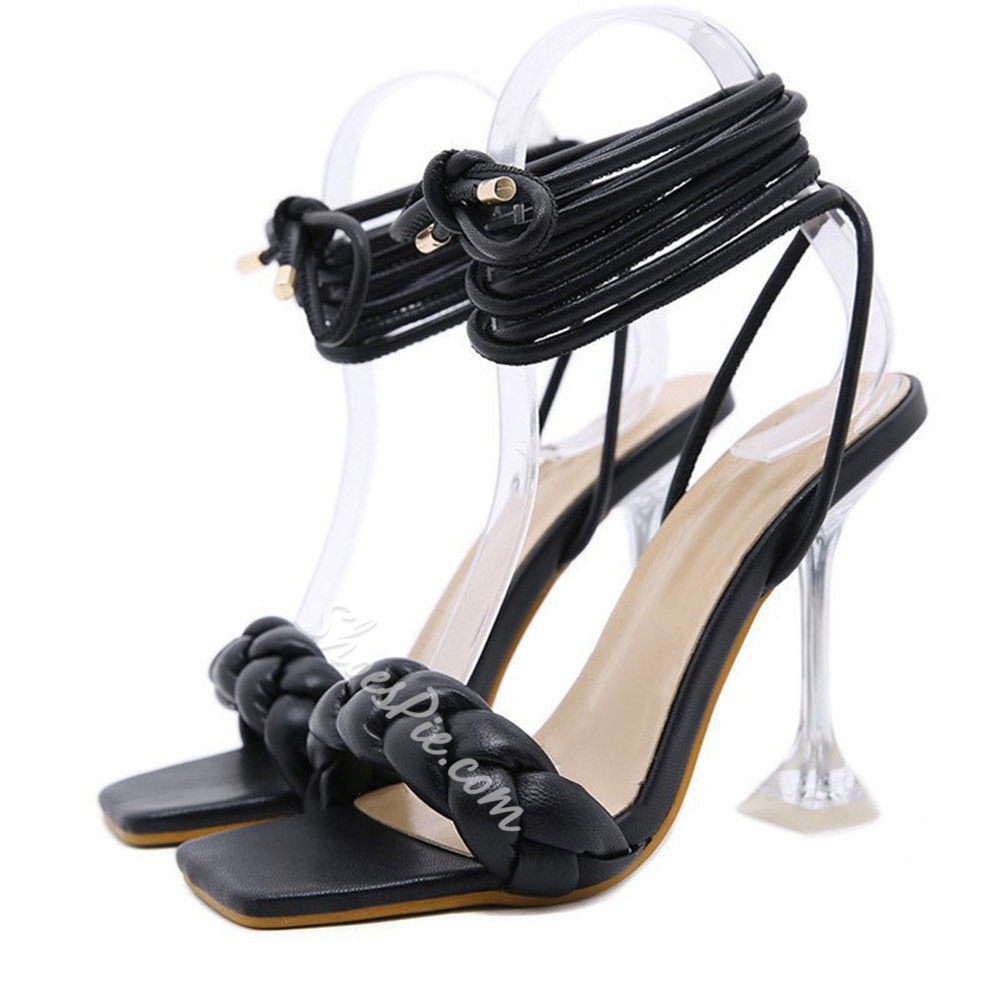 Shoespie Trendy Spool Heel Square Toe Lace-Up Woven Sandals