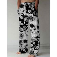 Skull Straight Lace-Up Casual Casual Pants