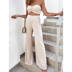 Backless Sexy Plain Pullover Women's Two Piece Sets