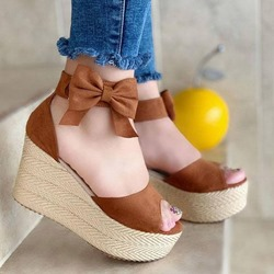 Shoespie Stylish Peep Toe Wedge Heel Buckle Low-Cut Upper Thin Shoes