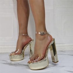 Shoespie Trendy Golden Peep Toe Chunky Heel Buckle Buckle Sandals