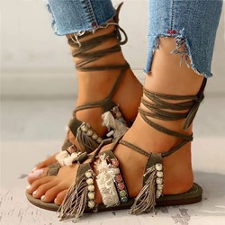 Shoespie Stylish Flat With Round Toe Lace-Up Patchwork Sandals