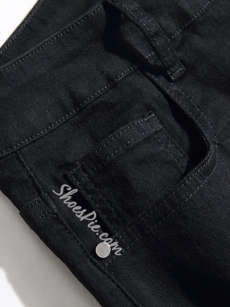 Floral Straight Embroidery Casual Mid Waist Jeans