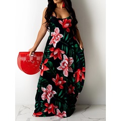 Sleeveless Print Floor-Length A-Line Flower Women's Dress