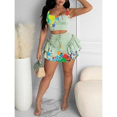 Vest Floral Sexy A-Line Women's Two Piece Sets