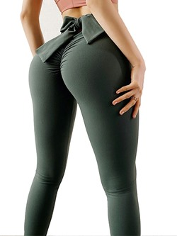 Solid Polyester Ankle Length Spring Pants