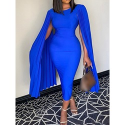 Round Neck Long Sleeve Mid-Calf Fall Women's Dress