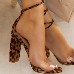 Shoespie Stylish Chunky Heel Open Toe Lace-Up Print Sandals