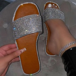 Shoespie Sexy Rhinestone Flip Flop Flat With Sexy Slippers