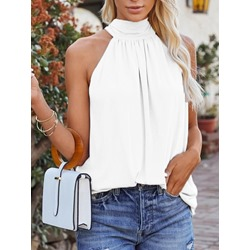Off Shoulder Polyester Summer Patchwork Standard Women's Tank Top