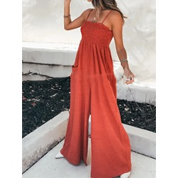 Western Pocket Full Length Wide Legs Women's Jumpsuit