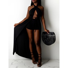 Plain Sexy Dress Straight Women's Two Piece Sets