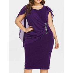 Plus Size Mid-Calf Short Sleeve Round Neck Pullover Women's Dress