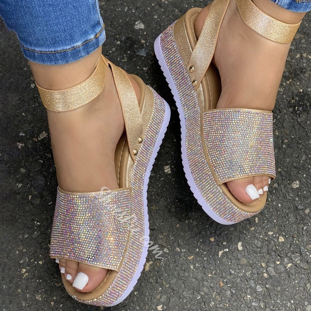 Shoespie Sexy Buckle Round Toe Patchwork Sandals