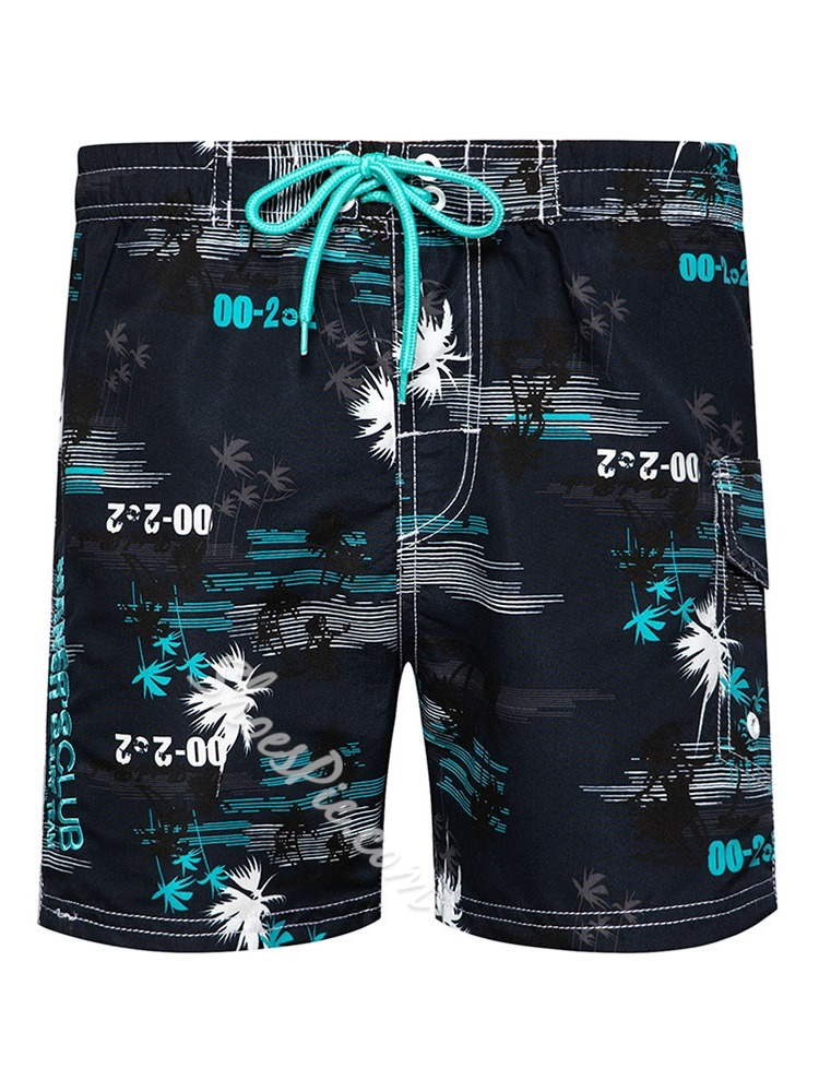 Plant Lace-Up Straight Beach Shorts
