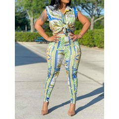 Shirt Print Office Lady Pencil Pants Women's Two Piece Sets