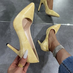 Shoespie Trendy Stiletto Heel Pointed Toe Alligator Pattern Simple Thin Shoes