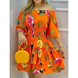 Above Knee Three-Quarter Sleeve Off Shoulder Fashion Women's Dress