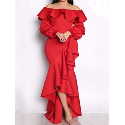 Long Sleeve Floor-Length Asymmetric Fall Women's Dress