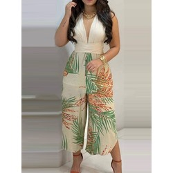 Floral Backless Western Wide Legs Women's Two Piece Sets