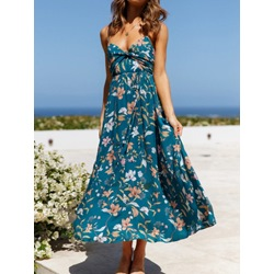 V-Neck Print Sleeveless Summer Floral Women's Dress