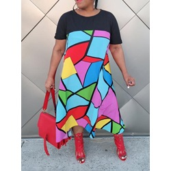 Patchwork Short Sleeve Ankle-Length Casual Women's Dress