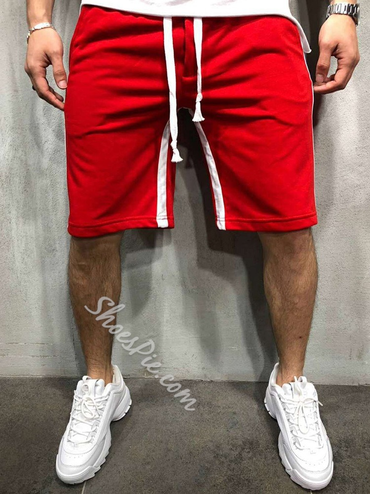 Color Block Lace-Up Straight Sports Lace-Up Casual Pants