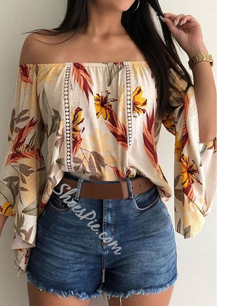 Off Shoulder Embroidery Floral Three-Quarter Sleeve Women's Blouse