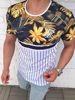 Casual Print Color Block Short Sleeve Pullover T-shirt