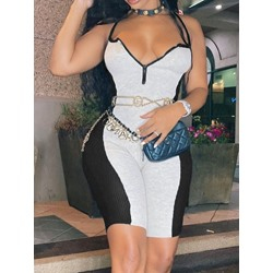 Sexy Patchwork Shorts Bodycon Women's Jumpsuit
