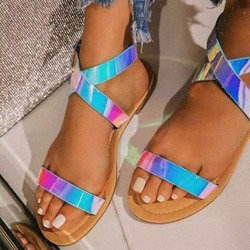 Shoespie Stylish Flat With Buckle Round Toe Color Block Sandals