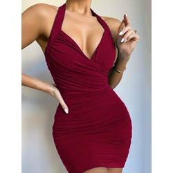 Sleeveless Above Knee Pleated Bodycon Women's Dress